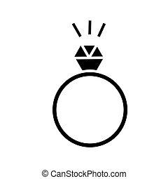 diamant, vecteur, fond, icône, isolé, signe, anneau, illustration
