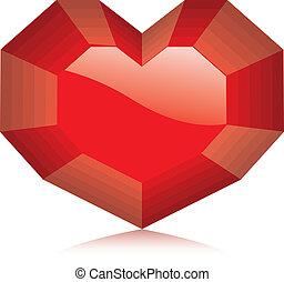 diamant, vecteur, heart., illustration