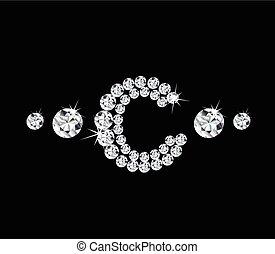 diamant, vecteur, lettre, 'c', alphabétique