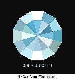 diamant, vector, pictogram, edelsteen