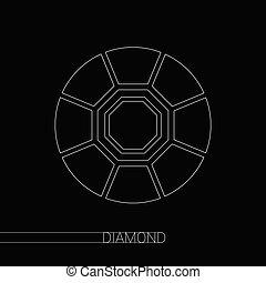 diamant, vektor, på, svart fond