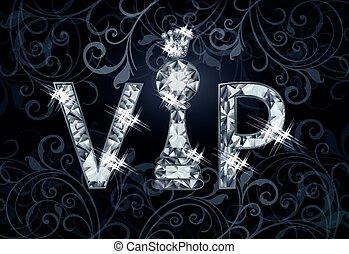 diamant, vip, vecteur, échecs, bannière