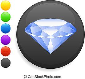 diamante, ícone, ligado, redondo, internet, botão