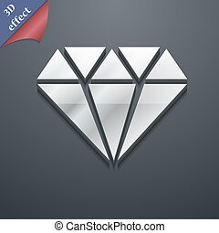 diamante, ícone, símbolo., 3d, style., trendy, modernos, desenho, com, espaço, para, seu, texto, vetorial