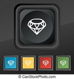 diamante, ícone, símbolo., jogo, de, cinco, coloridos, elegante, botões, ligado, pretas, textura, para, seu, design., vetorial