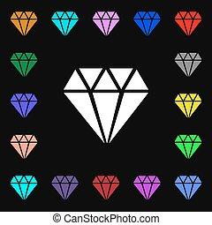 diamante, ícone, sinal., lotes, de, coloridos, símbolos, para, seu, design., vetorial
