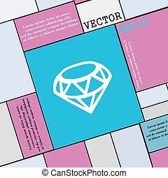 diamante, ícone, sinal., modernos, apartamento, estilo, para, seu, design., vetorial