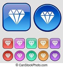 diamante, ícone, sinal., um, jogo, de, doze, vindima, botões, para, seu, design., vetorial