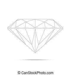 diamante, aislado, alto, realista, plantilla, popular, dibujo lineal