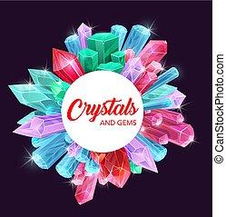 diamante, ametista, cristalli, cornice, quarzo, gemme