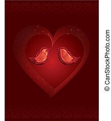 diamante, amore, due uccelli