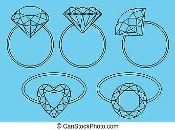 diamante, anelli, vettore, set