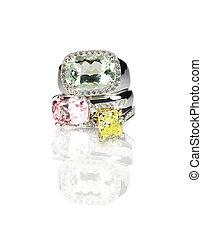 diamante, apilado, coloreado, anillos, piedra preciosa, agrupación