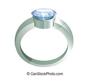 diamante, argento, anello