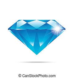 diamante azul, aislado, alto, realista, elementos, popular, calidad