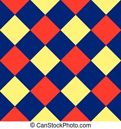 diamante azul, chessboard, fundo amarelo, vermelho