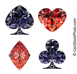 diamante azul, formado, trajes, oscuridad, tarjeta roja