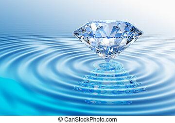 diamante, azul, reflexão