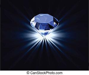 diamante azul, reflexión., brillante, vector, plano de fondo