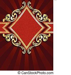 diamante, bandiera, rosso, oro, modellato