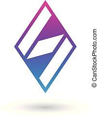 diamante blu, modellato, illustrazione, s, vettore, lettera, magenta
