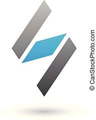 diamante blu, modellato, illustrazione, s, vettore, nero, lettera