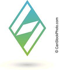 diamante blu, modellato, illustrazione, s, vettore, verde, lettera