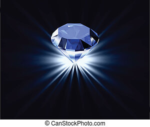 diamante blu, riflessione., luminoso, vettore, fondo