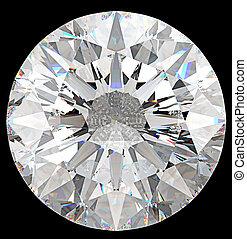 diamante, cima, isolato, gemstone:, rotondo, vista