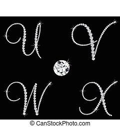 diamante, conjunto, 6, letters., vector, alfabético, elegante