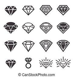 diamante, conjunto, icono