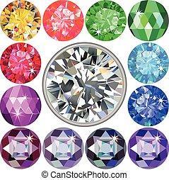 diamante, conjunto, piedras preciosas, y