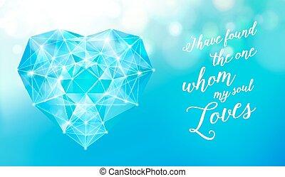 diamante, coração, para, seu, design.