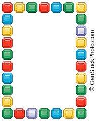diamante, cornice, con, spazio, per, text., colorato, gemstones, fondo, vector.