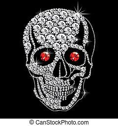 diamante, cranio, com, olhos vermelhos