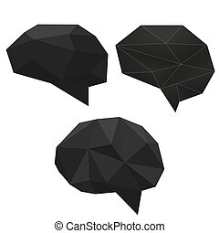 diamante, cristallo, astratto, creativo, polygonal, cervello, nero, basso, set.