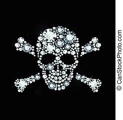 diamante, crossbones crânio