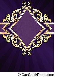 diamante, dado forma, roxo, &, ouro, bandeira
