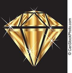diamante, em, ouro, com, bling, bling