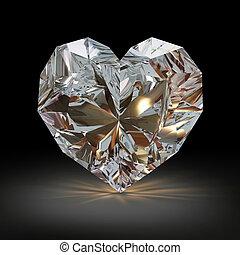 diamante, en, el, forma, de, corazón, en, negro, fondo.