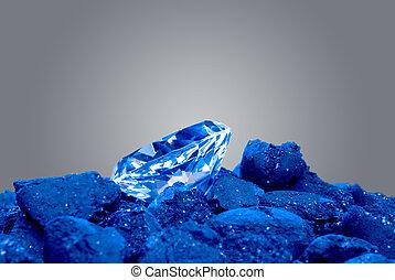 diamante, en, un, pila, de, carbón