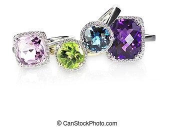 diamante, engagment, anelli, gruppo, matrimonio, pila