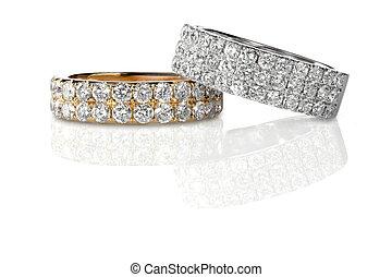 diamante, engagment, anillos, grupo, boda, pila