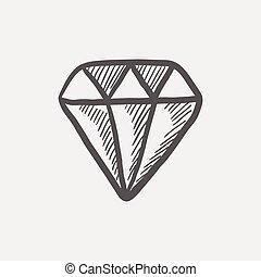 diamante, esboço, ícone