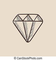 diamante, esboço, icon.