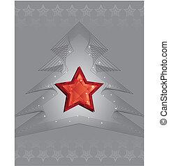 diamante, estrela, árvore, prata, desenho, natal, vermelho