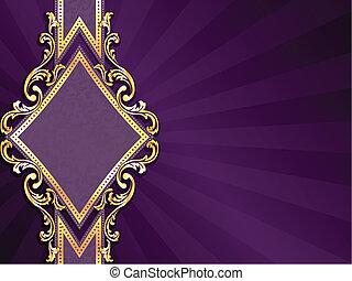 diamante, formado, púrpura, y, oro, bandera