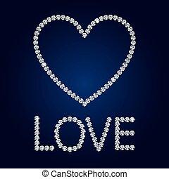 diamante, heart., card., valentina, s, vettore, baluginante, giorno