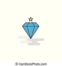 diamante, icon., vetorial, apartamento