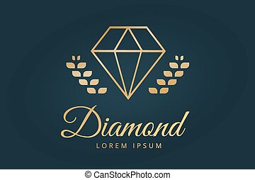 diamante, icono, viejo, plantilla, logotipo, vendimia